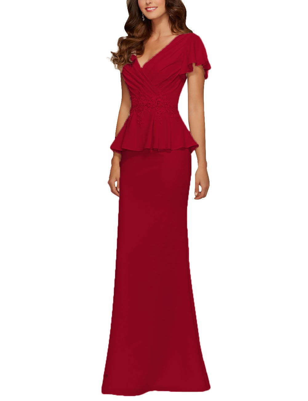 91e36b64af8 ... Women s Chiffon Mother of The Bride Dresses Beads Applique Peplum Prom  Evening Gowns Burgundy US 10.   