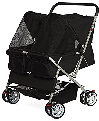 OxGord Double Pet Stroller For Cats, Dogs and Other Household Animals from Paws Pals