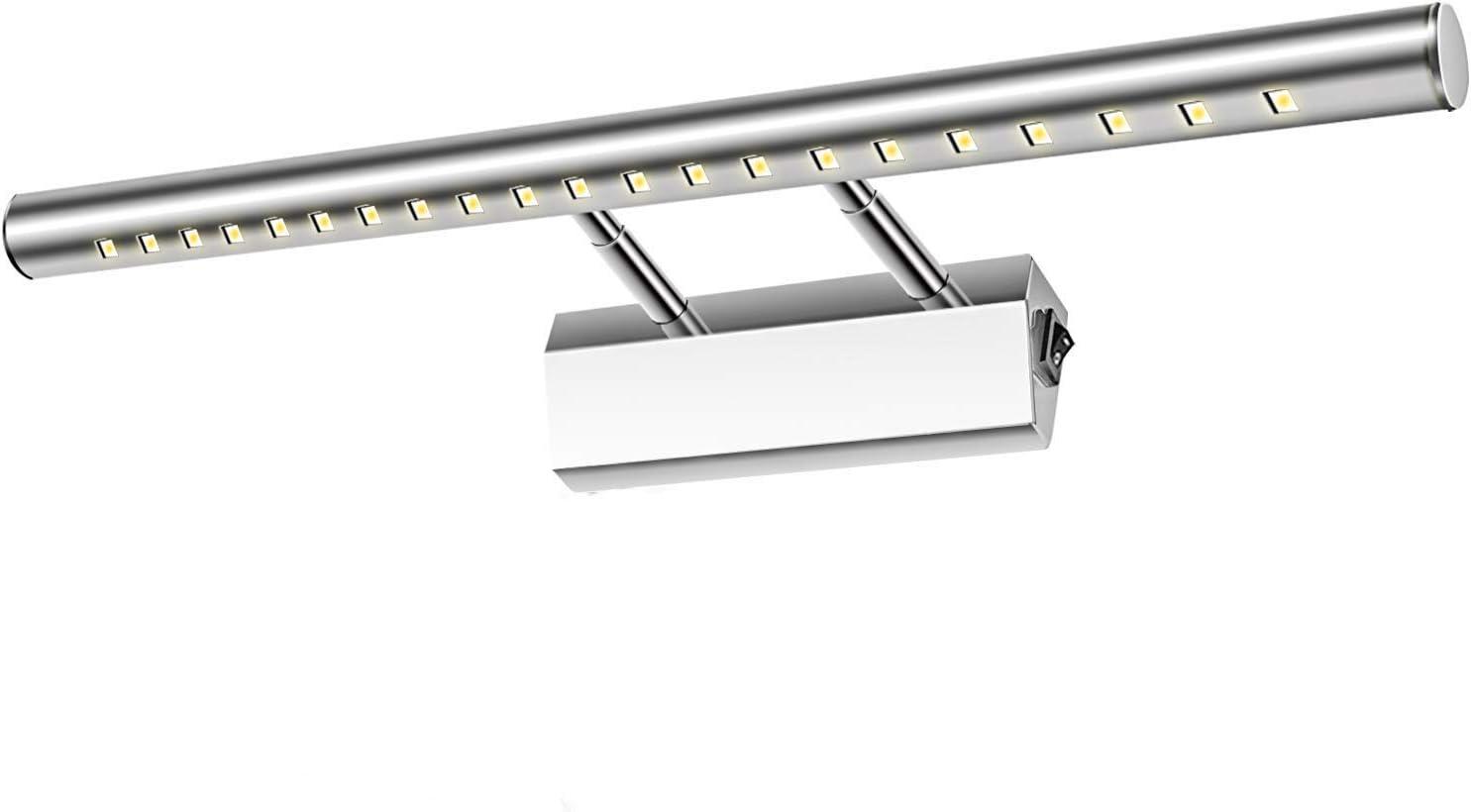 Glighone Aplique Baño Luz de Espejo 21 LED 5W 40cm Lámpara Moderno Iluminación para Maquillaje contra Niebla Acero Inoxidable con Interruptor para Cuarto de Baño, Tocador, Probador, Blanco Frío