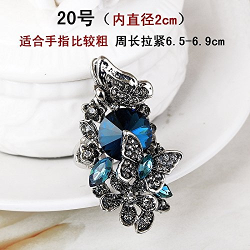 Unique Retro Fashion Long Index Finger Ring Decorated Women Girls Diamond Crystal Ring Exaggerated Personality Tide Jewelry (Crystal Blue Ink 20 - in Diameter 2cm-125