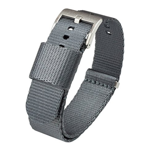 Barton Jetson NATO Style Watch Strap - 18mm 20mm 22mm or 24mm - Steel Grey 22mm Nylon Watch Band