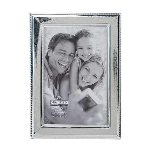 Malden International Designs Fashion Metals Embossed Floral Picture Frame, 4x6, Silver