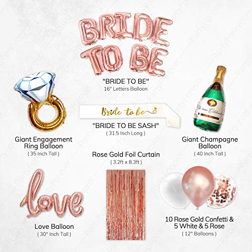 Bridal Shower Decorations Kit PartyForever Bachelorette Party Decorations Bride Balloons Set Big BRIDE TO BE Balloons Rose Gold 16 Letters Banner Hen Party Supplies and Favors