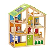 Award Winning Hape All Seasons Kid's Wooden Doll House Furnished with Accessories
