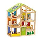 Hape Award Winning All Seasons Kid's Wooden Doll House Furnished with Accessories