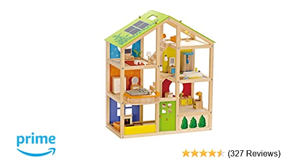 Amazon hape all seasons kids wooden dollhouse by award winning amazon hape all seasons kids wooden dollhouse by award winning 3 story dolls house toy with furniture accessories movable stairs and reversible publicscrutiny Choice Image