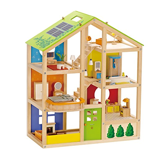 Hape All Seasons Kid's Wooden Dollhouse Furnished with Accessories