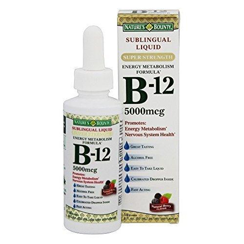 Nature's Bounty B-12 5000 mcg Sublingual Liquid Energy Health 2 oz (Pack of 9)