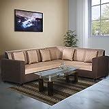 Bharat Lifestyle Dalvin Fabric Golden Brown L Shape Sofa (3+D)
