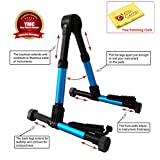YMC Guitar Stand for Acoustic/Electric/Classical Guitars and Violin, Ukulele, Bass, Banjo, Mandolin - Folding, Portable and Lightweight - Fits Your Fender/Epiphone/Taylor/Yamaha/Martin Music Instrument - The Ultimate for Concert & Travel - Premium Accessories by YMC (Blue) + Free Polishing Cloth - Lifetime Warranty