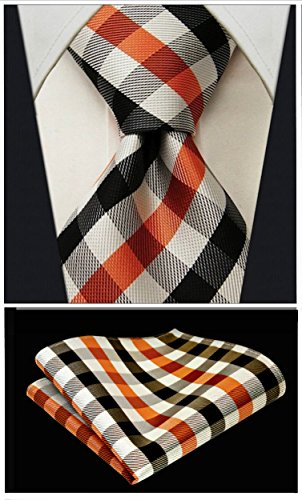 Gingham Plaid Ties for Men - Woven Necktie & Pocket Square - Orange and Black