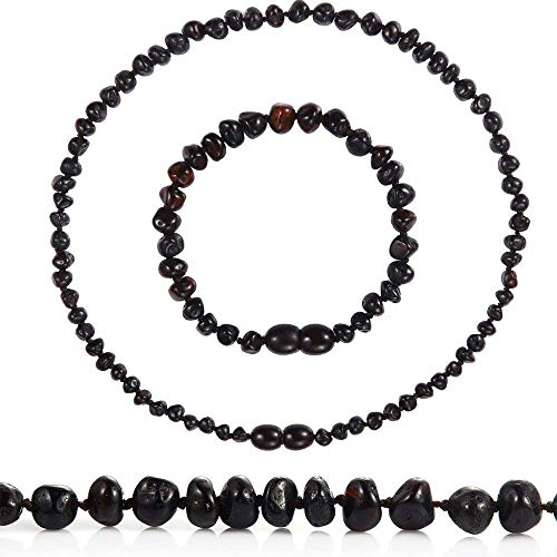 Temgee Baltic Amber Necklace Gift Set - Raw Amber Necklace and Bracelet - Anti-Flammatory, Pain Relief for Girls and Boys (Cherry, 12.5in+5.5in)