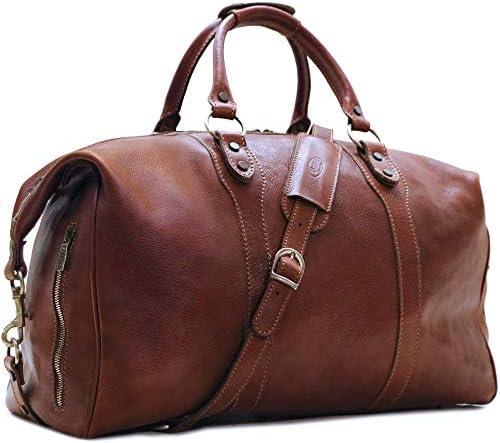 Floto Roma Travel Bag Saddle Brown Large Italian Leather Weekender Duffle