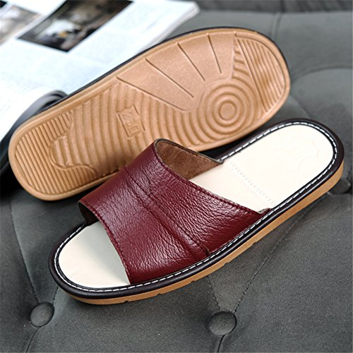 Man Slippers Coffee Leather Soft Slip Men Indoor TELLW Slippers Non Bottom Slippers Summer Home Cool Lady Couple Slippers EZA1Tq