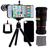 ECO-FUSED iPhone 4 4S Camera Lens Kit Includes / 8x Black Telephoto Manual Focus Telescopic Camera Lens with Tripod / 1 Universal Holder / 1 Mini Tripod / 1 iPhone 4 4S Protection Case / 1 ECO-FUSED Microfiber Cleaning Cloth included, Best Gadgets