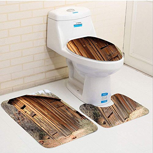 - Doormat bikini Three-Piece Toilet seat pad customOuthouse Old Ancient Outhouse Wooden Seem Plaques in Olive Trees Light Caramel Brown Dark Green
