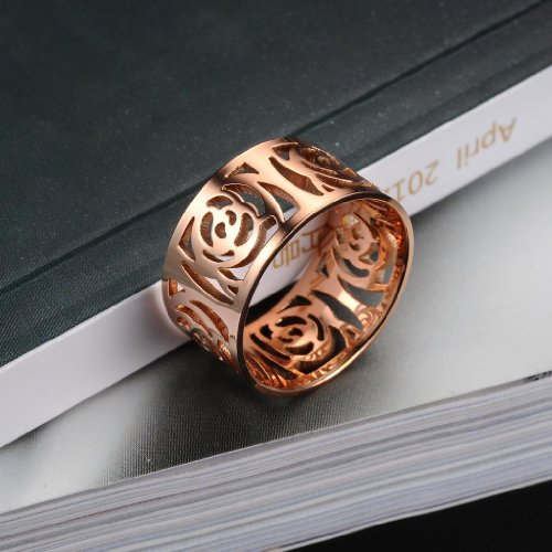 """3Aries Fashion Stainless Steel Rose Gold Plated """"Hollowed Flowers"""" Fair lady ring Anniversary/Promise Women/Girls Rings Size 5"""