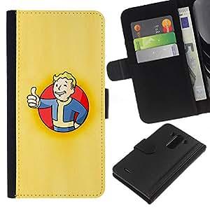 KLONGSHOP // Tirón de la caja Cartera de cuero con ranuras para tarjetas - Bóveda Boy Póster - LG G3 //