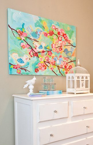 Oopsy Daisy Cherry Blossom Birdies Stretched Canvas Wall Art, 40'' X 30'' by Oopsy Daisy