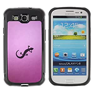 "Pulsar iFace Series Tpu silicona Carcasa Funda Case para Samsung Galaxy S3 III I9300 , Dibujo Lizzard Pequeño púrpura Arte Sombra del reptil"""