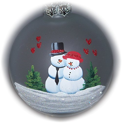 Snowman Couple with Red Hearts Painted Holiday Tree Ornament