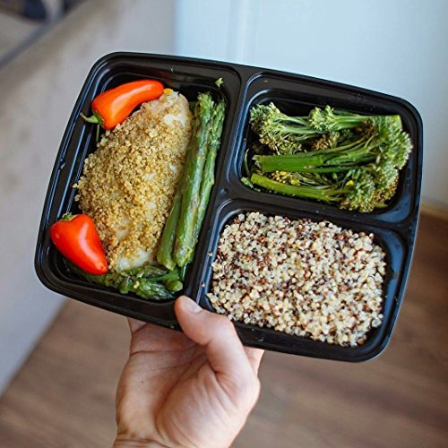 meal prep containers 3 compartment 14 pack lunch box bento import it all. Black Bedroom Furniture Sets. Home Design Ideas