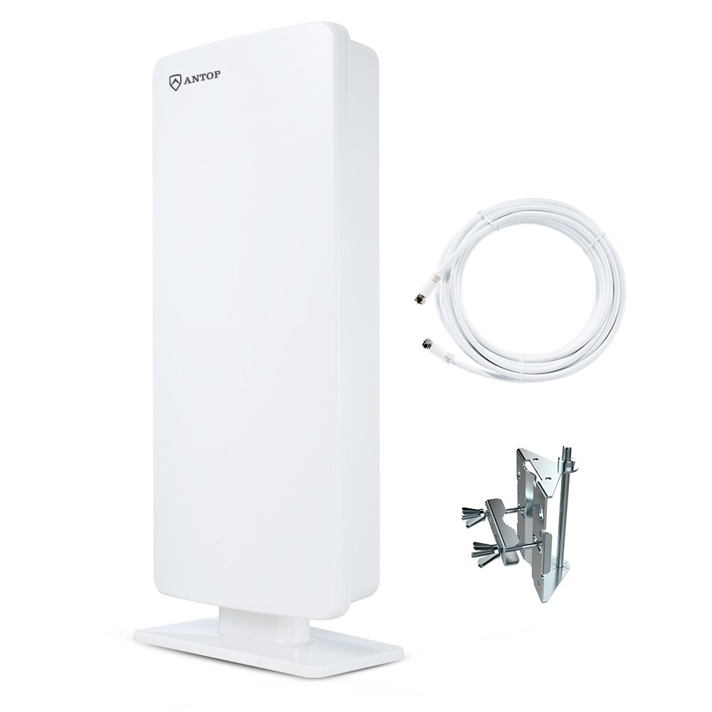 ANTOP AT-400 Flat-panel Outdoor/Indoor TV Antenna with High Gain-65 Mile Long Range Digital TV Antenna withMulti-Directional Reception - 40ft Detachable Coaxial Cable - HD/4K UHD Ready