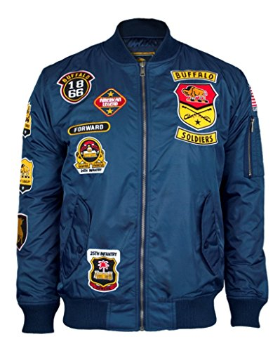 Buffalo Soldiers Mens Bomber Jacket Extra Large Navy Blue by Big Boy Headgear