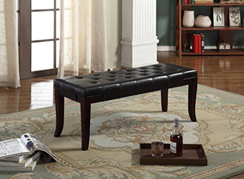 Roundhill Furniture Linon Espresso Leather Tufted Ottoman Bench, (Bonded Leather Photo Frame)