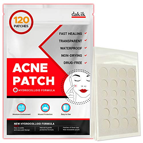 Acne Pimple Healing Patch - Invisible Facial Stickers with Hydrocolloid, Absorbing Cover for Skin Treatment, Blemishes, Black and White Spots, Three Sizes, Blends in with skin (120 Patches)