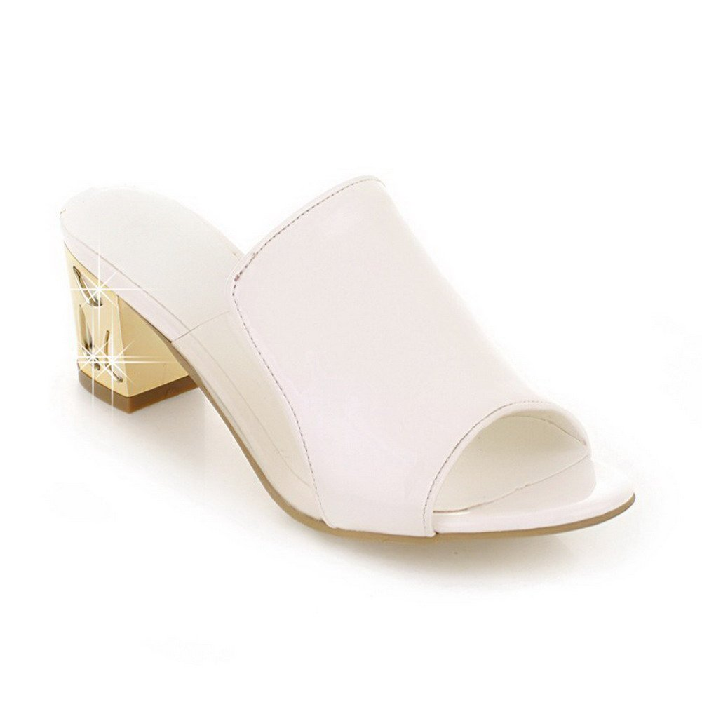 WeiPoot Women's Kitten-Heels Soft Material Solid Pull-on Open Toe Sandals, White, 34