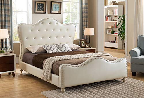 Best Master Furniture YY15073 Angela Upholstered Tufted Faux Leather Platform Bed, King, Ivory