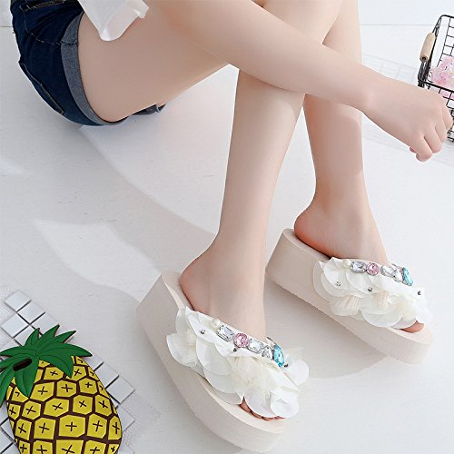 Thirty KPHY Bottom seven Drill Water Hauling Lace Slippers Thin Fashion Color Beach Heel Slope Korean Thick qfWf6AwrX