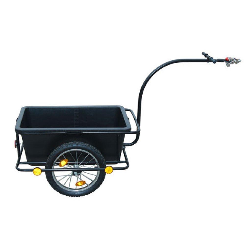 Daonanba Handy Bike Trailer with Plastic Cart 23 Gal Useful Cargo Transport Carrier Black