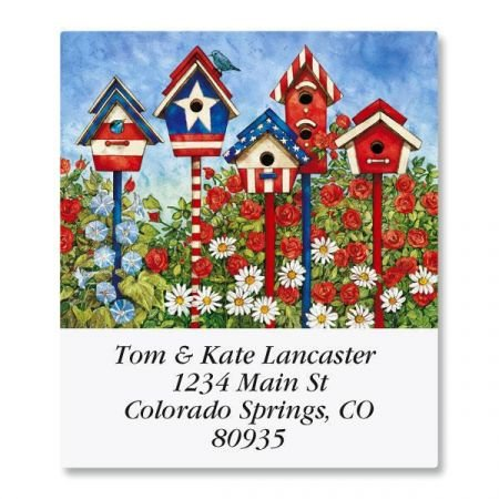 (Patriotic Birdhouses Square Return Address Labels - Set of 144 1-1/2 x 1-3/4 Self-Adhesive, Flat-Sheet labels)