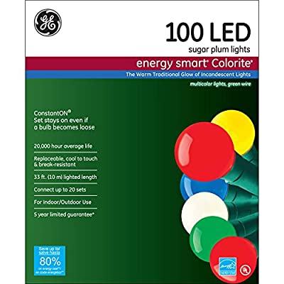 GE Energy Smart 100-Count Indoor/Outdoor 585890 Constant Multicolor LED Globe Copper Wire Christmas String Lights ENERGY STAR