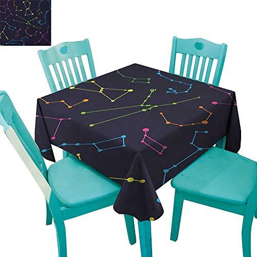 longbuyer Constellation,Patterned Tablecloth,Colorful Astronomic Illustration Science Ursa Major Minor Polaris Celestial,36