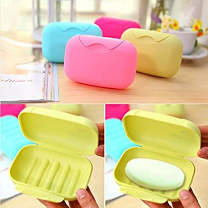 4914929be707 Amazon.com : Bathroom Candy Color Soap Dish Plate Case Home Shower ...