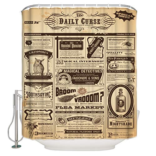 (Bathroom Shower Curtain Vintage Newspaper Daily Curse Old Poster Durable Waterproof Fabric Home Bath Curtain Sets with 12 Hooks, 60
