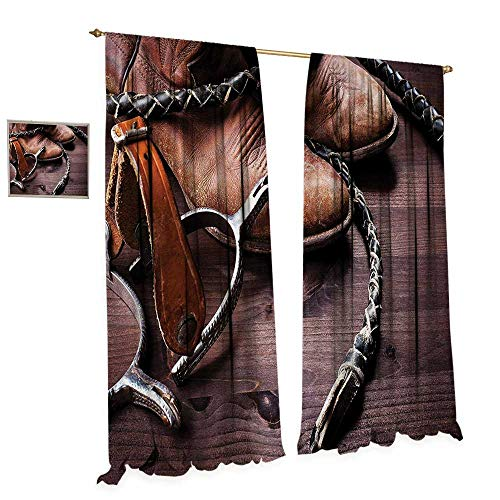 (Western Window Curtain Fabric Authentic Old Leather Boots and Spurs Rustic Rodeo Equipment USA Style Art Picture Print Drapes for Living Room W108 x L108 Brown)