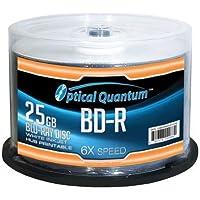 Optical Quantum 50 Discos Blu-ray Grabables (BD-R) de una Sola Capa, 6x, 25GB, Cubierta Blanca Imprimible con Inyección de Tintas