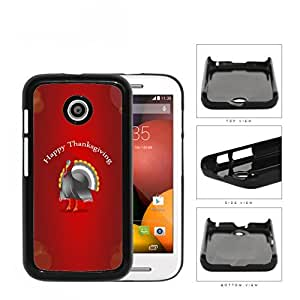 Happy Thanksgiving Turkey With Red Background Motorola (Moto E) Hard Snap on Plastic Cell Phone Case Cover