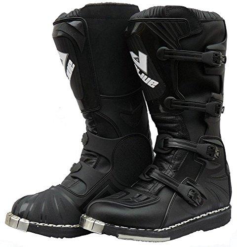 Cross Boots Protectwear, Stivali Da Enduro Racing In Pelle Con Fibbie In Plastica, Nero, 41