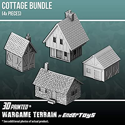 Cottage Bundle, Terrain Scenery for Tabletop 28mm Miniatures Wargame, 3D Printed and Paintable, EnderToys from Seus Corp Ltd
