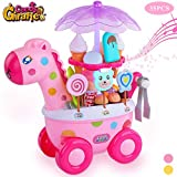 TEMI 35 PCS Giraffe Ice Cream Trolley Toy Set, Pretend Play Food Candy Cart with Sweets, Snacks, Dessert, Cash and Coins, Supermarket Play Set with Music and Lights for Kids, Boys & Girls, Pink