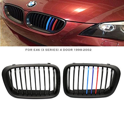 Syneticusa Matte Black Front Kidney Grille Grill 2pcs for ///M 1998-2002 E46 3-Series 4 Door Sedan