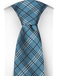 Notch Men's Necktie HUGO - Turquoise base and grid stripes in black and white