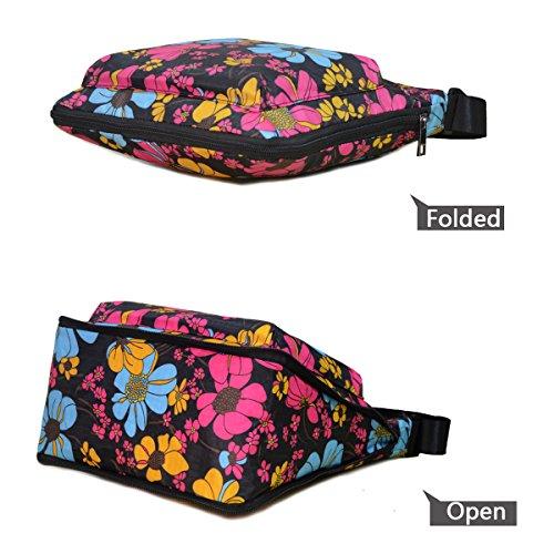 Flower Pocket Sun Zipper STUOYE Adjustable Black Crossbody Bag with Nylon Mutil Purse RwqPf6Bw