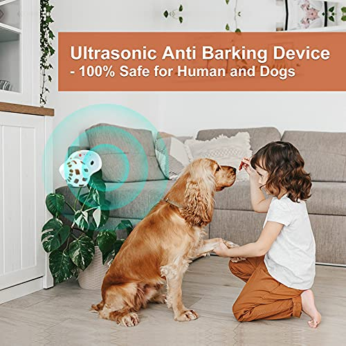 Trainertec Dog Barking Control Devices, Rechargeable Ultrasonic Anti Barking Device, 50Ft Range Rainproof Sonic Bark Deterrent Outdoor Indoor, Safe for Human and Dogs