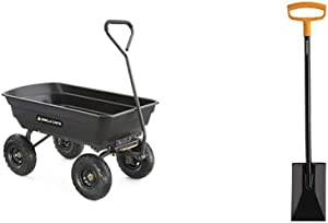 Gorilla Carts GOR4PS Poly Garden Dump Cart with Steel Frame and 10-in. Pneumatic Tires, 600-Pound Capacity, Black & Fiskars 46 Inch Steel D-Handle Square Garden Spade